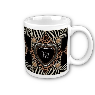 Leopard and Zebra Print Heart Mugs